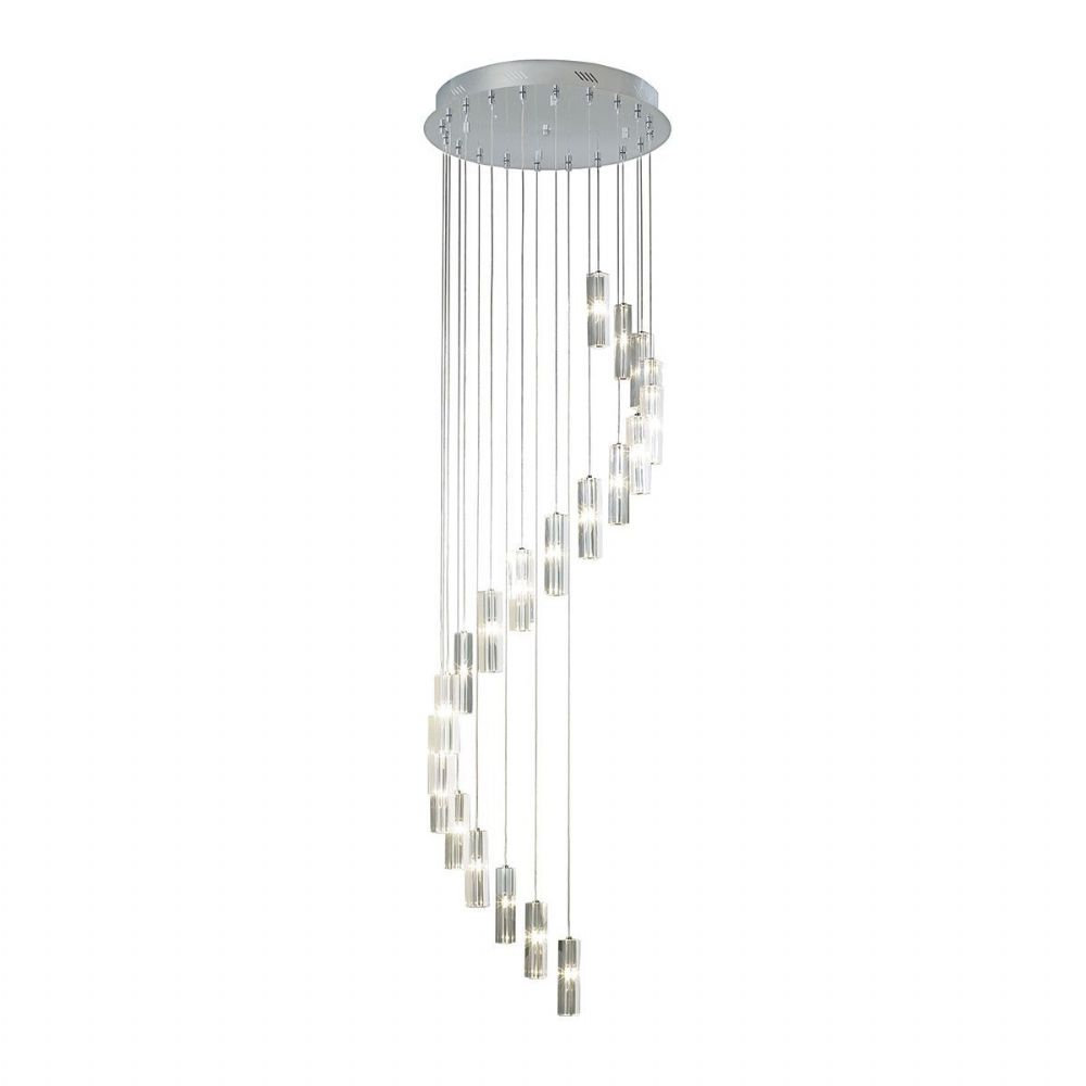Galileo 20 Light Stair Cluster 3M Drop Polished Chrome Led